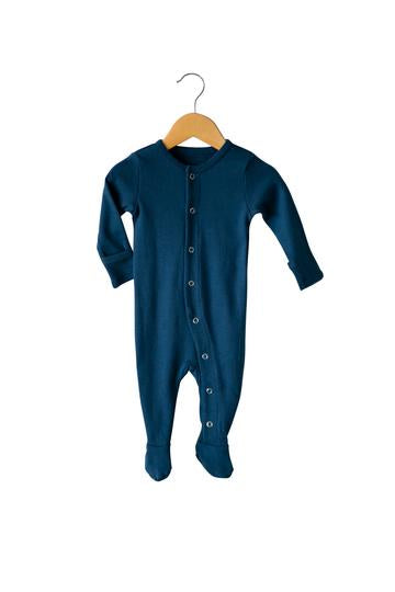Organic Button Footie | Sailor Blue