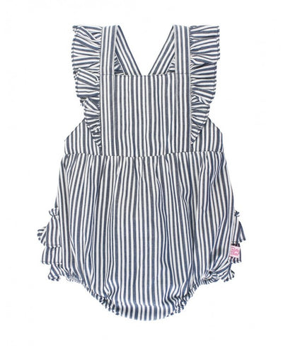 Navy Stripe Cross-Back Ruffle Romper