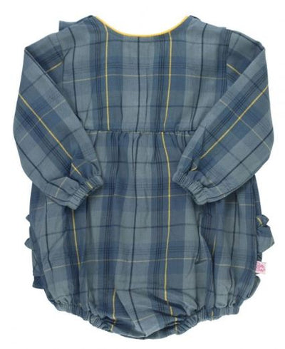 Noah Plaid V-Back Bubble Romper