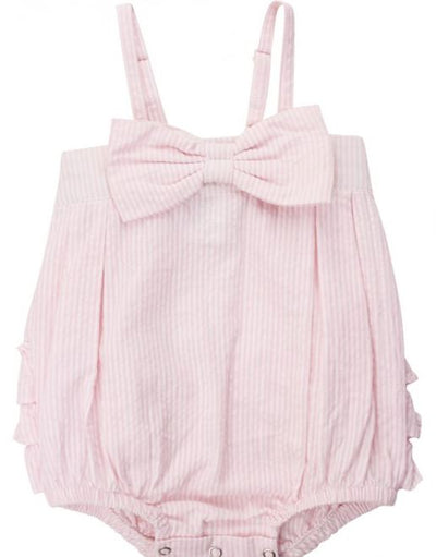 Pink Seersucker Bow-Front Bubble Romper