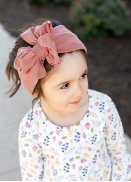 Vintage Mauve Big Bow Headband - One Size