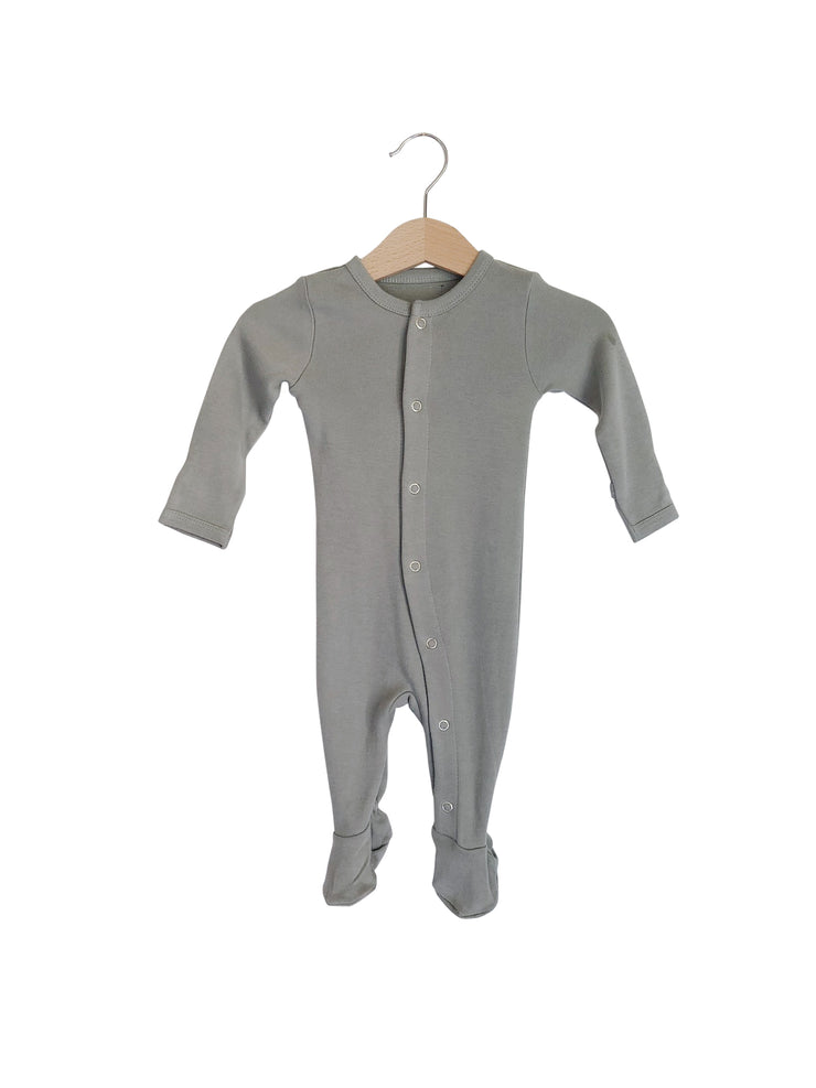 Organic Button Footie | Neutral Gray