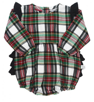 Juniper Plaid Flutter Bubble Romper