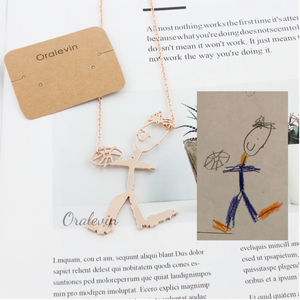 Customized Children's Drawing Necklace - The Gyftr: Get access to handpicked gifts from global makers, artists and creatives with a story to share. Free Worldwide shipping!
