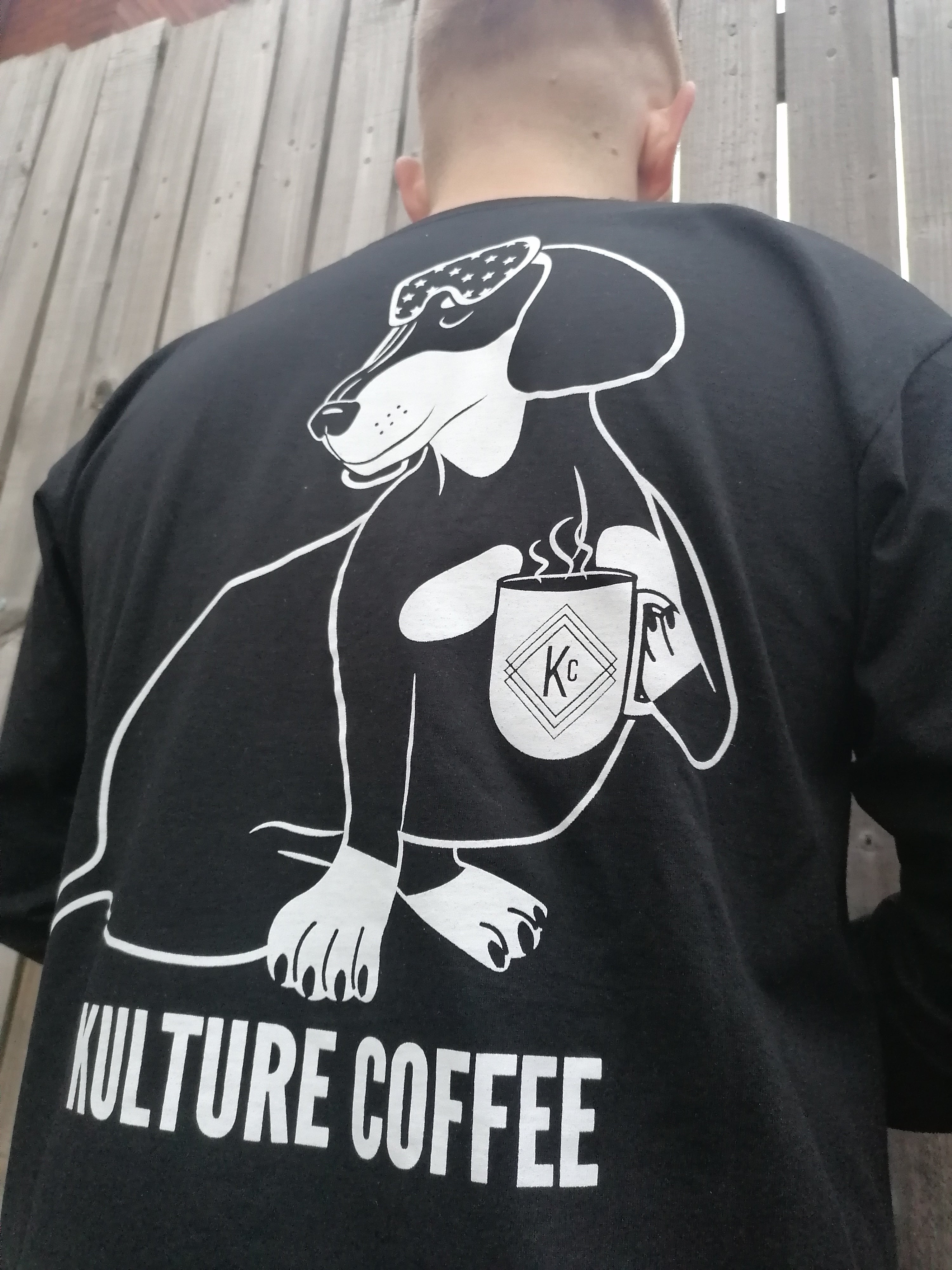 COFFEE & DOGS long sleeve t-shirt in black
