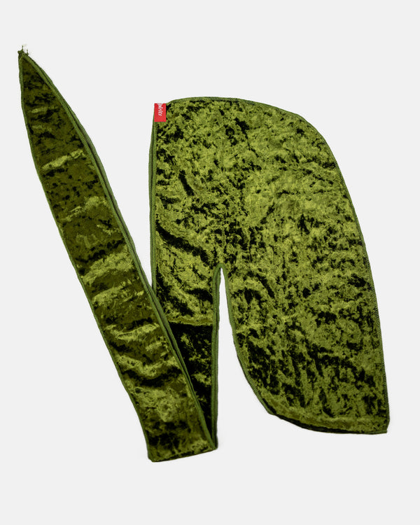 Olive Green Crushed Velvet Durag
