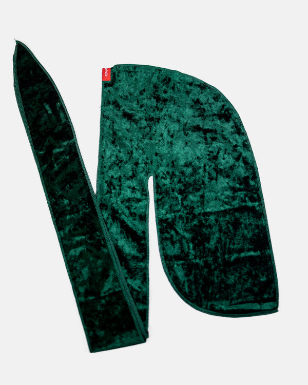 Emerald Green Crushed Velvet Durag