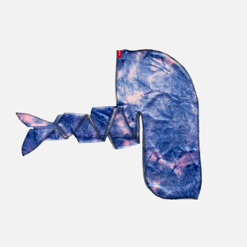 Blue and Pink Tie Dye Velvet Durag