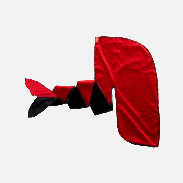 Premium Black and Red Two Tone Velvet Durag