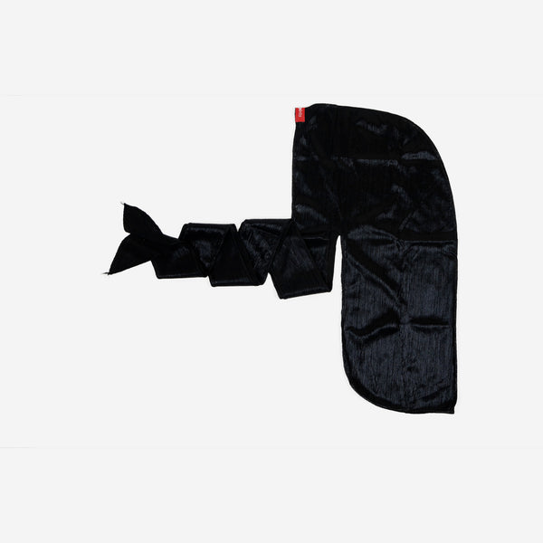 Shiny Black Stretch Satin Durag