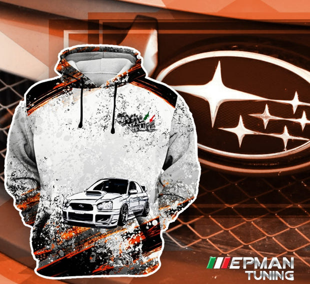 Custom Subaru Hoodie Unisex Blanc/Orange