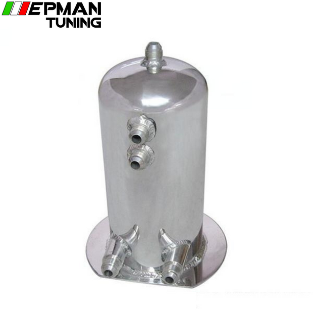 2.5 Liter Alloy Polished Aluminum Swirl Pot AN8 In AN10 Out Dome Fuel Surge Tank EP-YX9415-25 - epman-tuning