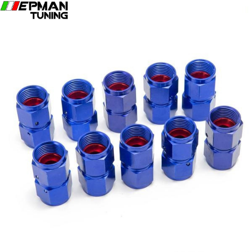 10PCS/SET Blue AN8 Universal Swivel Oil Fuel Line Hose End 2-Side Female Fitting EP-2TMAN8 - epman-tuning