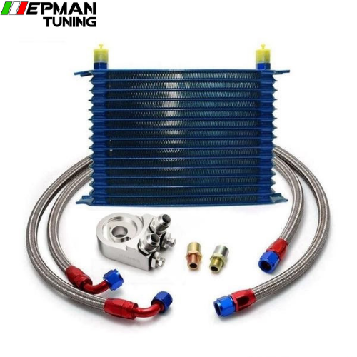 15 ROW AN-10AN UNIVERSAL ENGINE OIL COOLER KIT + ALUMINUM HOSE END KIT EP-OK1013 - epman-tuning