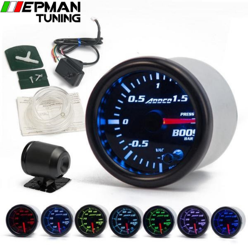 "2"" 52mm 7 Color LED Smoke Face Car Auto Bar Turbo Boost Gauge Meter With Sensor and Holder AD-GA52BOOSTBAR - epman-tuning"
