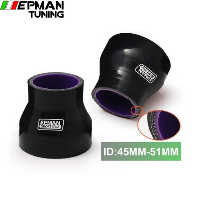 "1.77""-2"" 45mm-51mm 4-Ply Silicone Reducer Coupler Hose Black For BMW E46 M3/330/328/325 M52 M54 S54 1999- EP-SS0R4551 - epman-tuning"