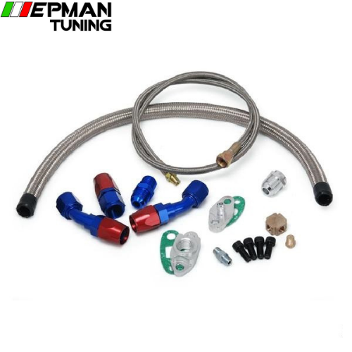 "36"" 4-AN 1/8 NPT OIL FEED FITTING LINE+17"" 10 AN TURBO OIL RETURN DRAIN LINE KIT EP-WXB01Q"