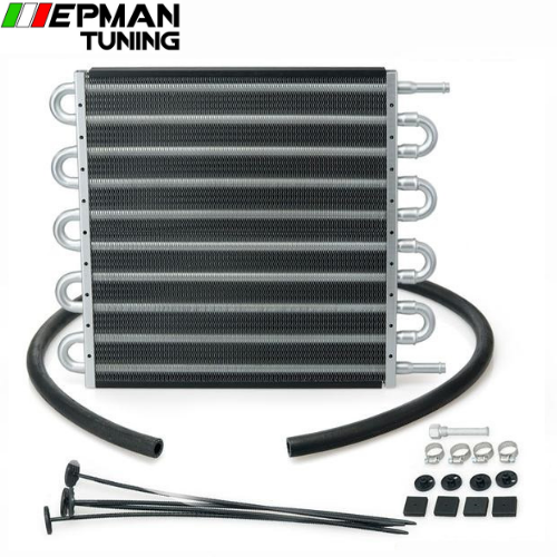 10 Row  Black Aluminum Remote Transmission Oil Cooler/Auto-Manual Radiator Converter Kit EP-HYOC406 - epman-tuning