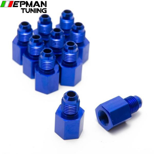10PCS/LOT Fitting Flare Reducer Female -1/8NPT to Male -4AN Blue Oil/Fuel Alloy Fitting 4ANW-1/8NPTN - epman-tuning