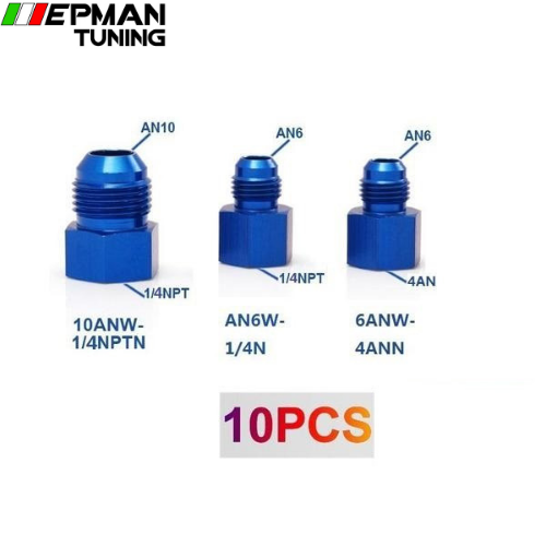 10PCS/LOT Fitting Flare Reducer Female 1/4N to Male -6AN Blue Aluminum Nickel Plated AN6W-1/4N - epman-tuning