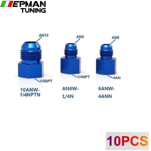 10PCS/LOT Fitting Flare Reducer Female 4AN to Male -6AN Blue Aluminum Nickel Plated 6ANW-4ANN - epman-tuning
