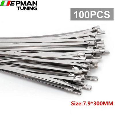 100pcs 7.9mm x 300mm Exhaust Heat Stainless Steel Cable Ties Wrap Metal Tie Extra Long & Wide Large For VW 5 EP-ZS100-K79 - epman-tuning