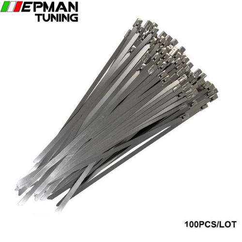 100x Exhaust Heat Stainless Steel Cable Ties Wrap Metal Tie Extra Long & Wide Large For BMW E60 E61 5 SERIES EP-ZS100 - epman-tuning