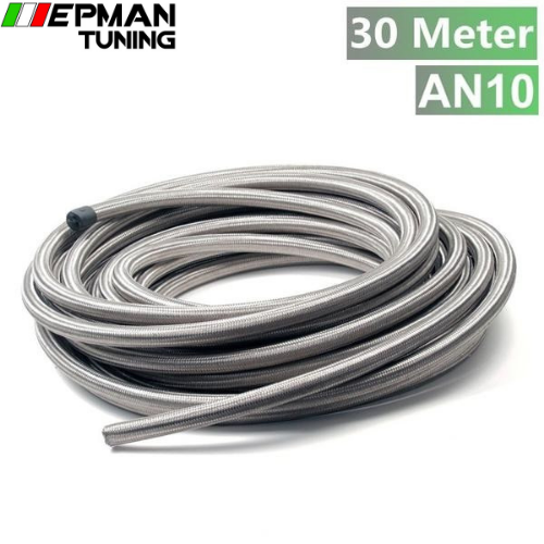 10AN AN 10 AN -10 (ID:14.27  MM OD:20.24 MM) 30m Stainless Steel Fuel Oil Gas Braided Hose Line TK-AN10 HOSE30M - epman-tuning