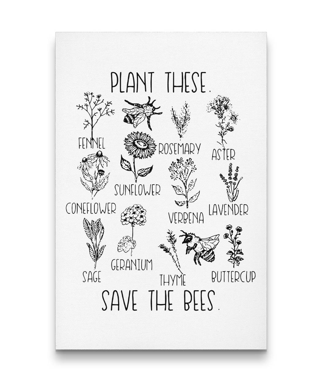 Plant These Save The Bees Canvas Wall Art