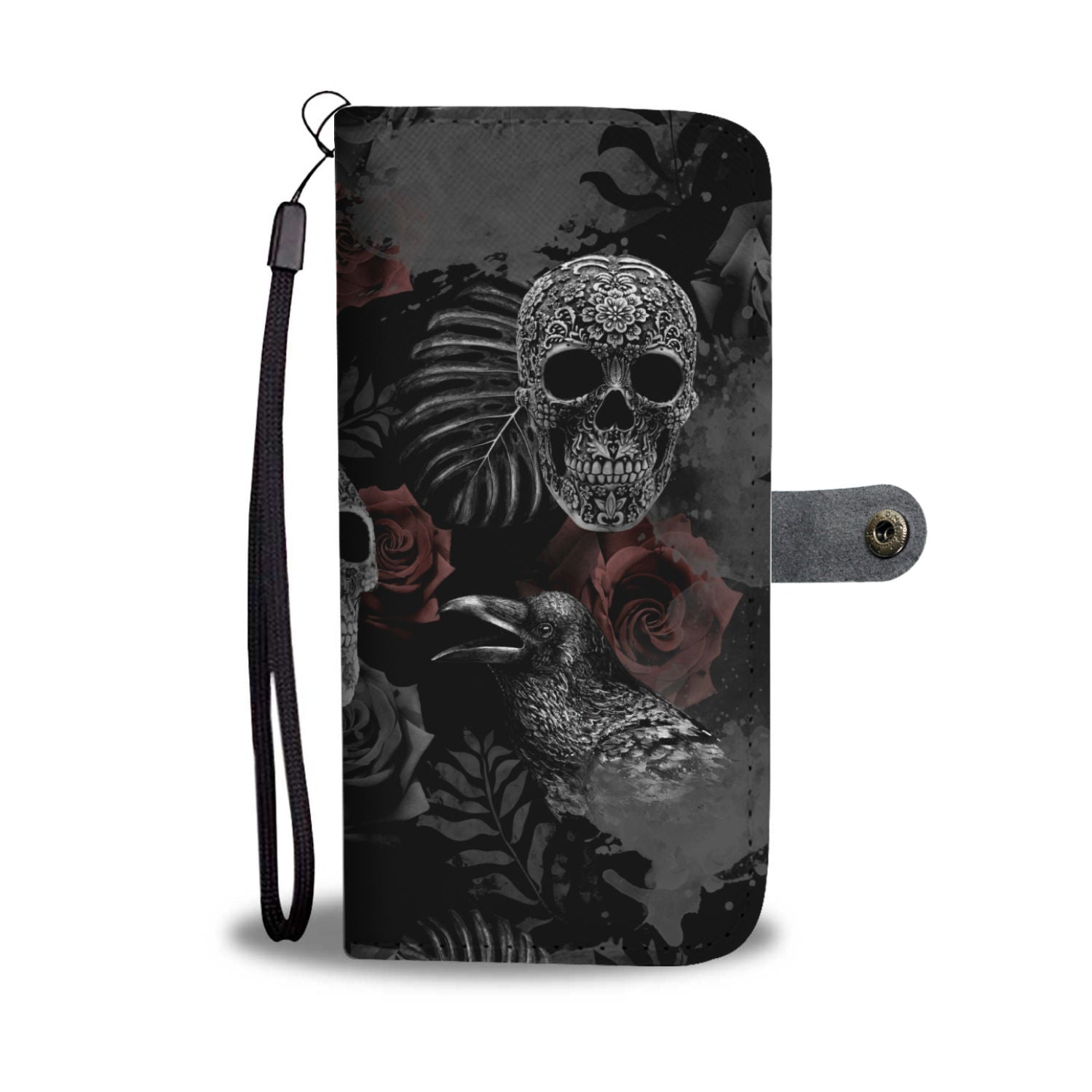 Skulls and Roses Phone Wallet Case - 70+ Phone Models Supported