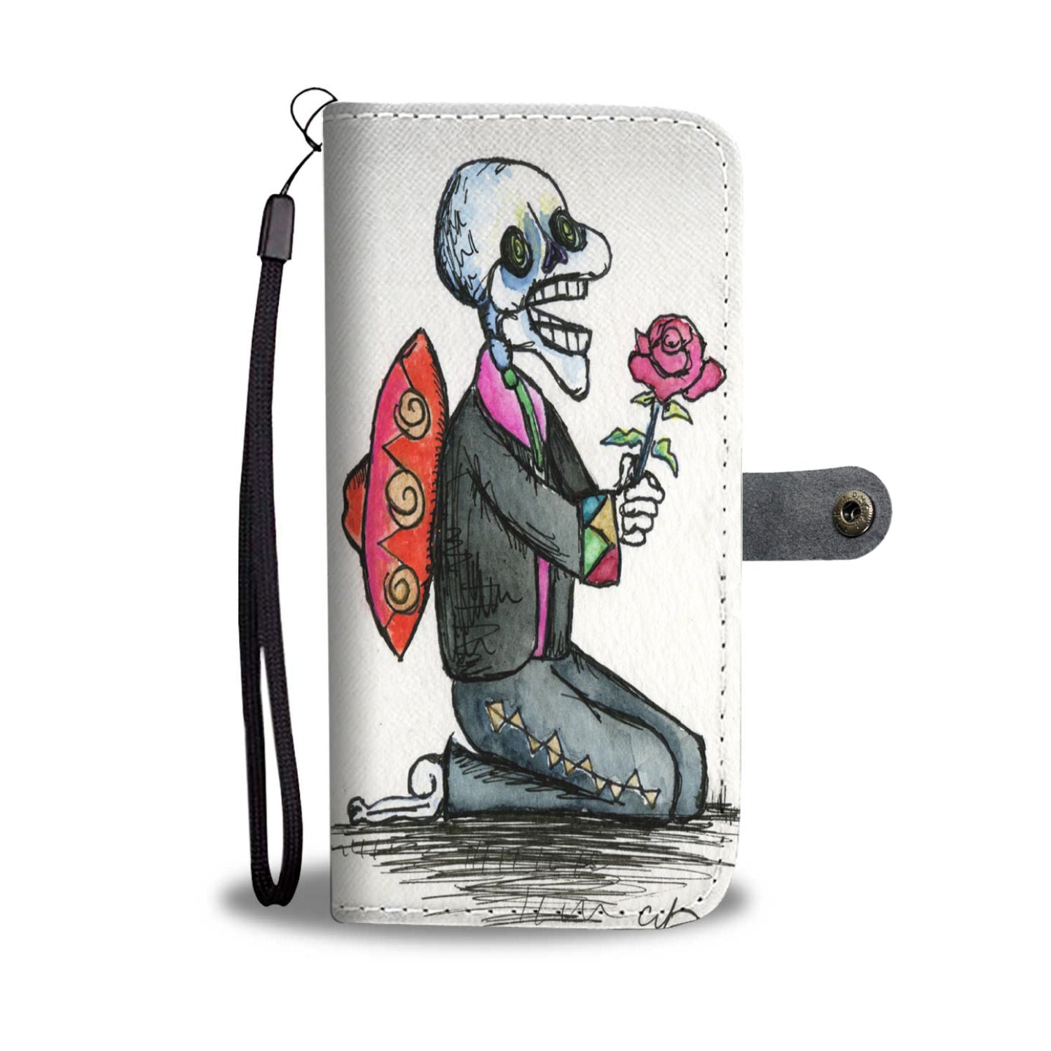 Creepy Cute Mariachi Phone Wallet Case - 70+ Phone Models Supported