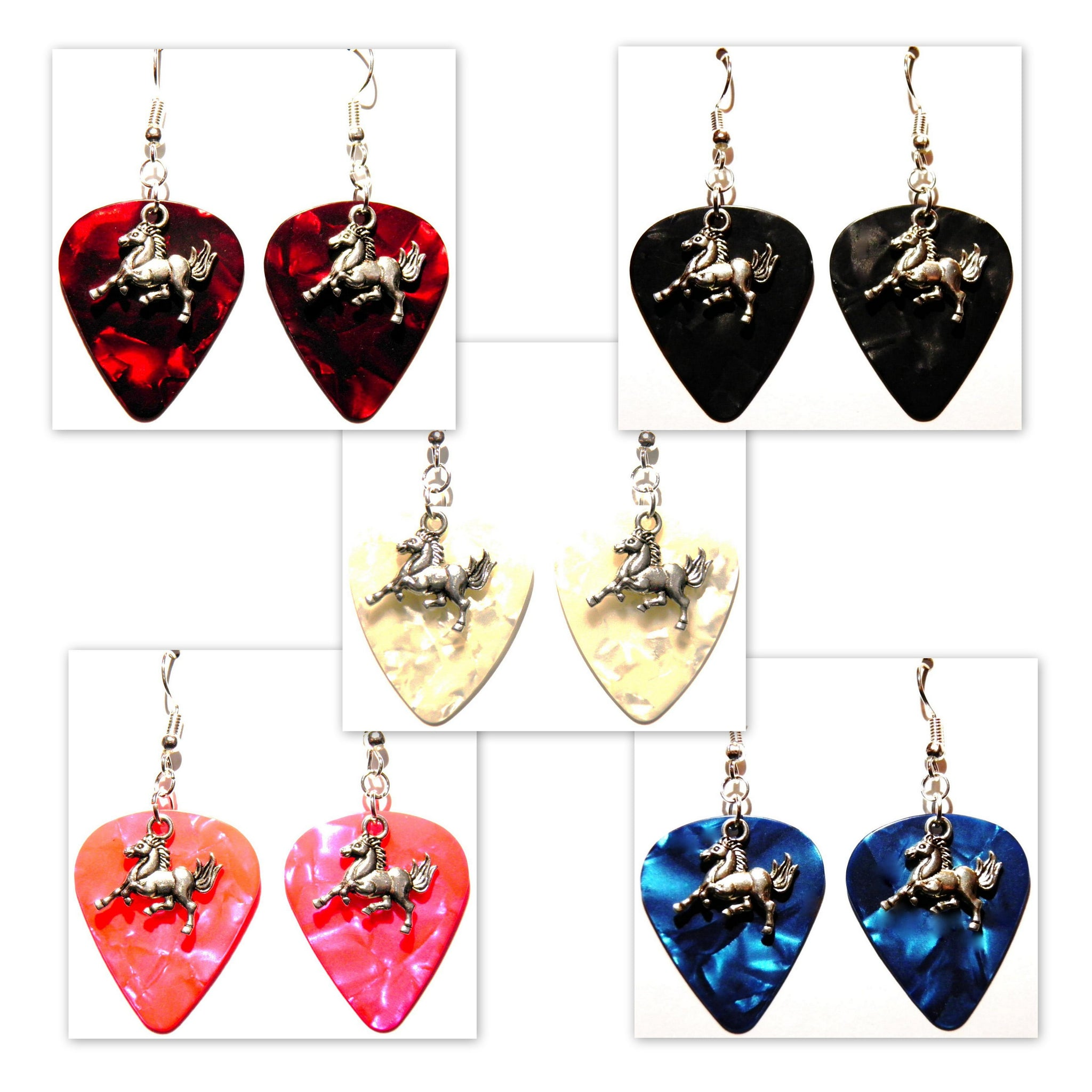 Horse Charm Guitar Pick Earrings