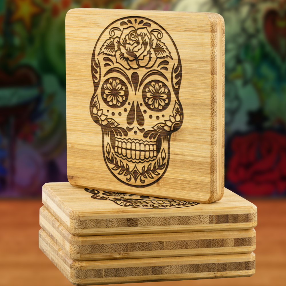 Sugar Skull Drink Coaster Set