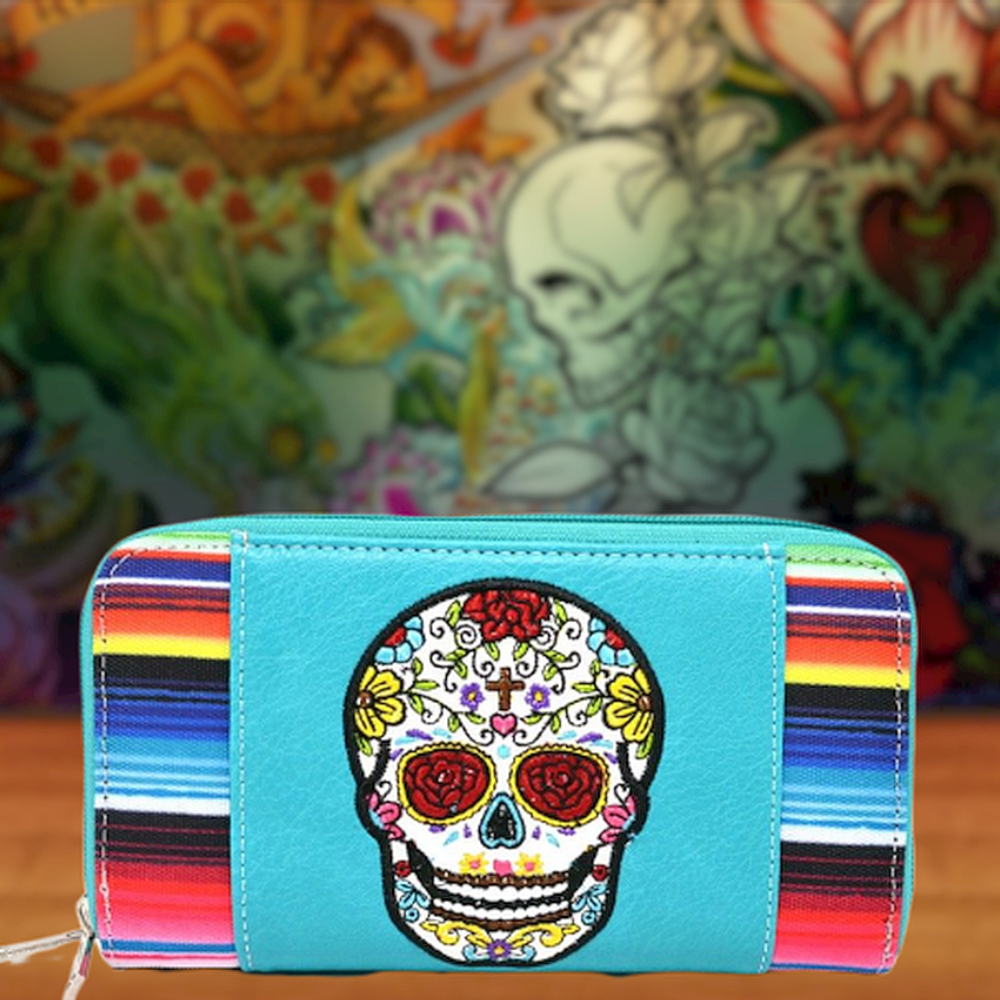Serape Sugar Skull Ladies Wallet
