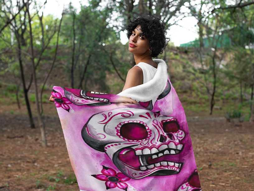 Crazy Skull Custom Designed Hooded Blanket