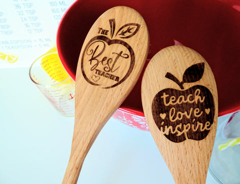 Teacher Gifts Wood Engraved Spoons