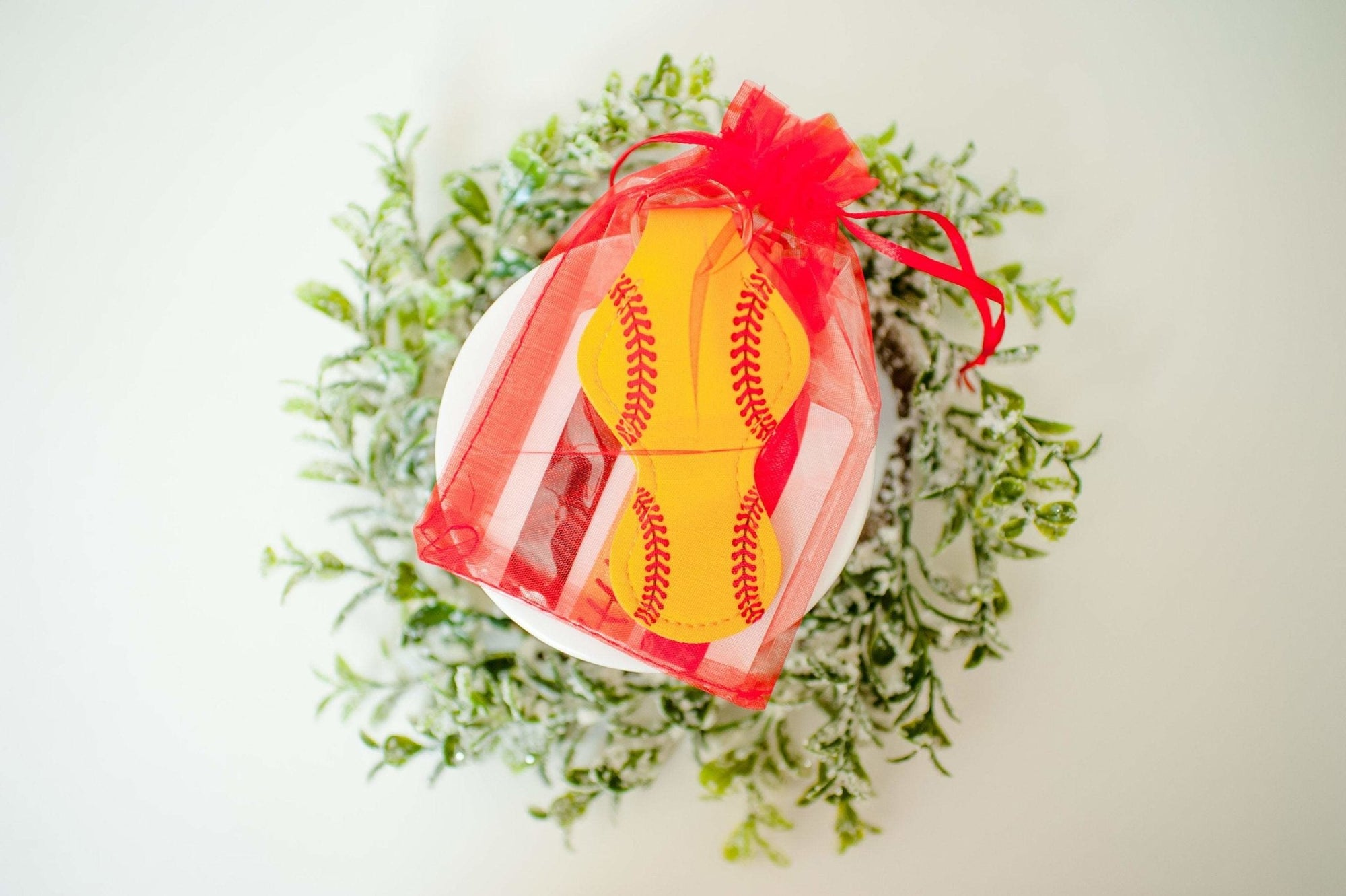Softball Keychain and Hair Tie Set Gift for Girls Stocking Stuffer - Daisy Lane Company