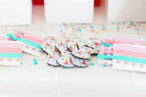 Unicorn Theme Birthday Party Favors for Kids Keychaind and Hair Tie Set - Daisy Lane Company