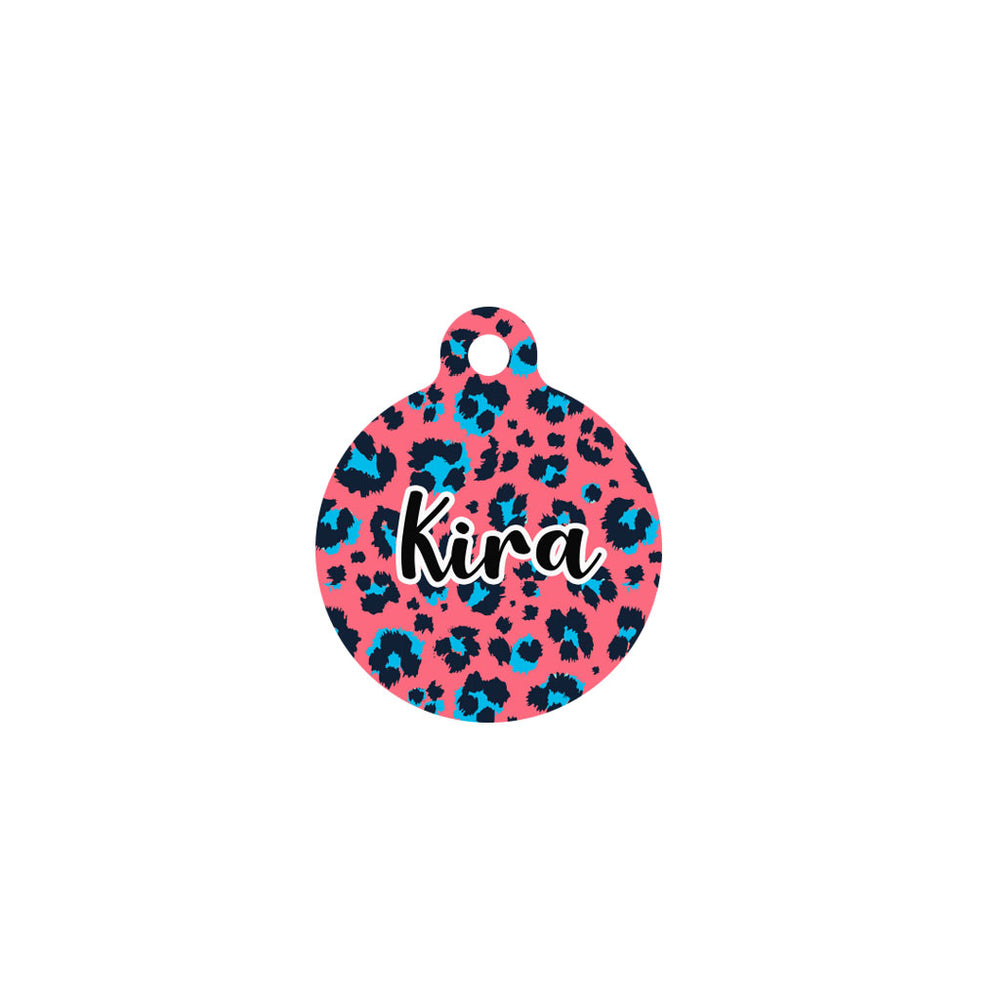 chapa identificativa circulo estampado leopardo color coral