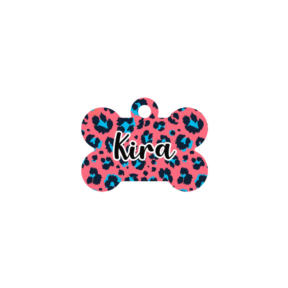 chapa identificativa hueso estampado leopardo color coral