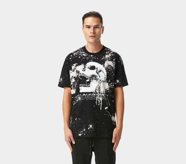Acid Wash Skull Tee - Black
