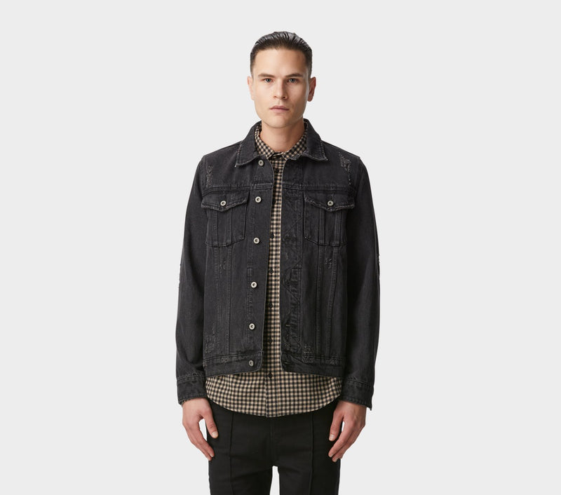 Denim Jacket - Distressed Black