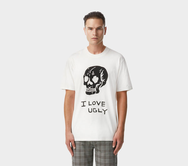 Hand Drawn Skull Relaxed Tee - Lily White