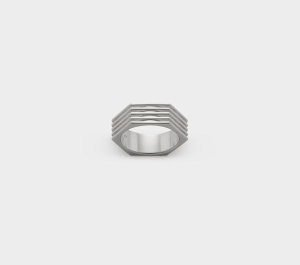 Hex Nut Ring - Silver