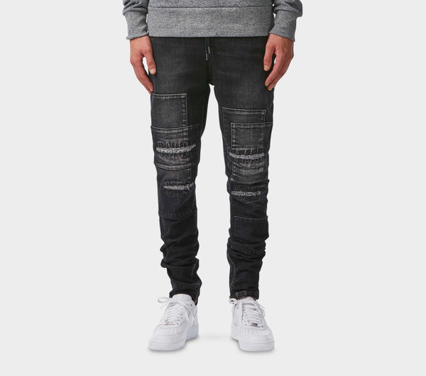 Denim Zespy Pant Mid Rise - Black Panel