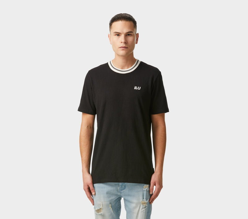 Striped Rib Tee - Black