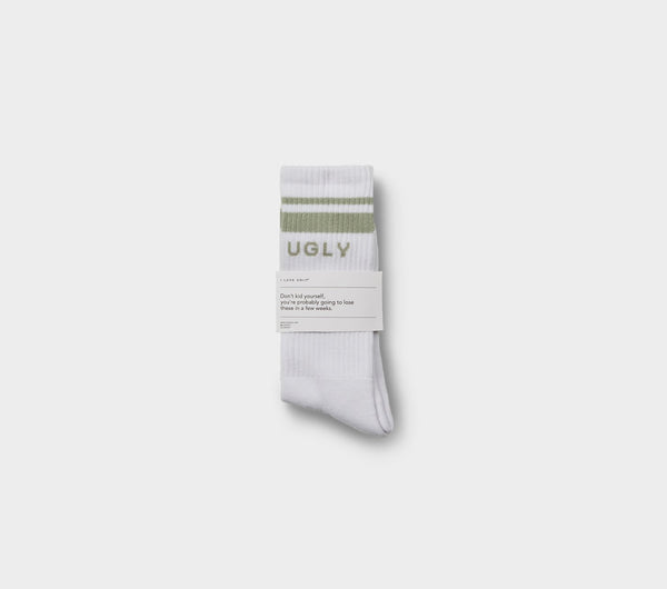 Double Stripe Athletic Sock - Moss Green Striped