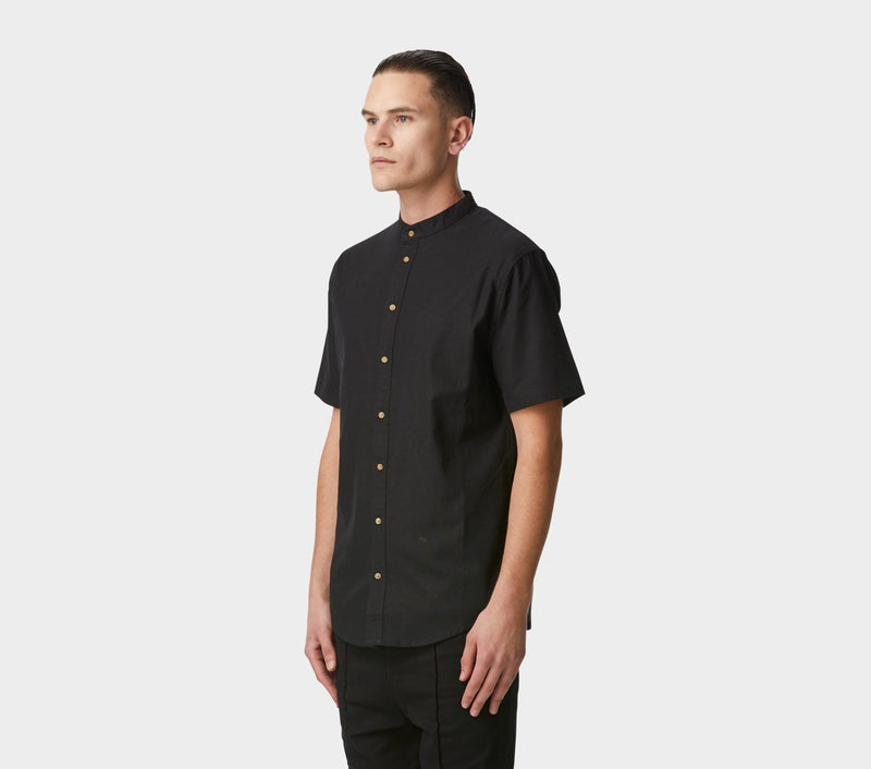Mandarin Collar SS Shirt - Black