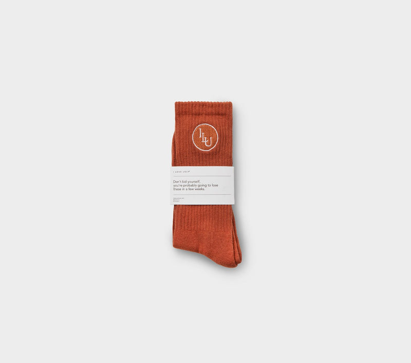 Monogram Sock - Burnt Orange