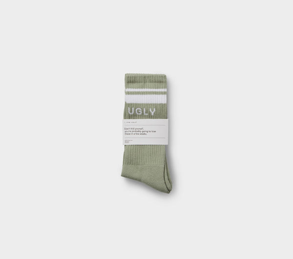Double Stripe Athletic Sock - White Striped